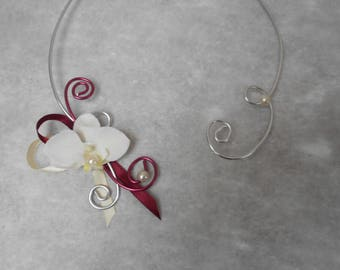 Necklace for bride - ivory, Burgundy and silver