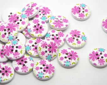 8 Wooden Floral Print 4 hole Buttons 15mm