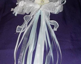 Blue, silver and white bridal garter