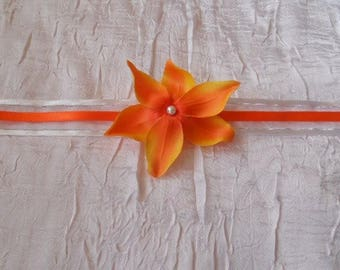 "Orange flower ""wedding procession Ribbon necklace"