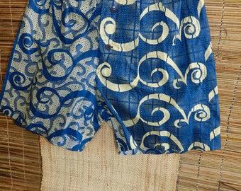 Mini-Short, femme, homme, coton imprimé, bleu et beige, style patchwork