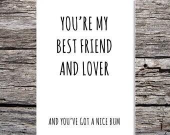 funny love card husband/boyfriend/wife/girlfriend best friend lover nice bum