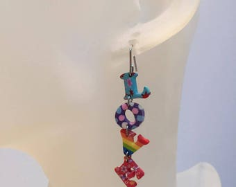 Freshwater Pearl drop earrings LOVE multicolored