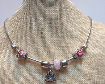Pandora style necklace jewelry pink Buddha beads