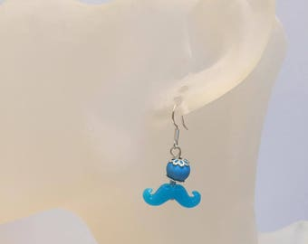 Dangle earrings neon blue MUSTACHE