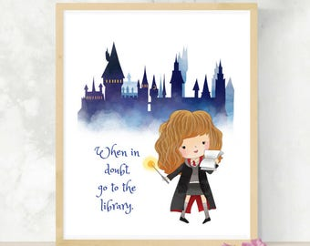 Little Witch Hermione | Baby Shower Gift | HP Fandom | Wizarding World | Potterhead Gift | Little Witch or Wizard | HP Print | Library Quote
