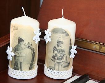 Set of 2 candles decor postcards