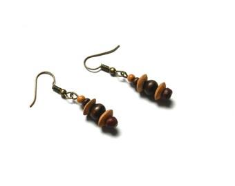 Earrings, bronze, brown, beads, wood, nature, ethnic, hippie