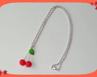 with its bright red cherries pair pendant chain necklace
