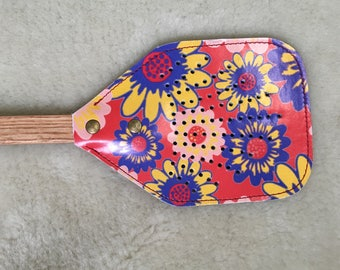Flyswatter - Leather Flyswatter - Red with Blue & Yellow Flowers