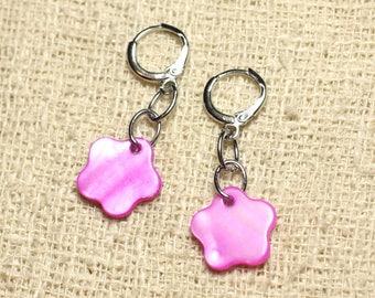 Mother of Pearl flower 15mm purple pink Fuchsia earrings