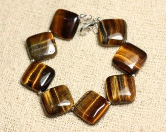Bracelet 925 sterling silver and diamonds 19mm Tiger eye stone-