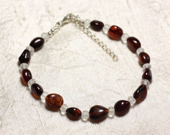Silver bracelet 925 stone Crystal Quartz and red amber natural 5-10mm