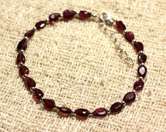 Bracelet 925 sterling silver and stone - Garnet drops faceted 5.5 mm