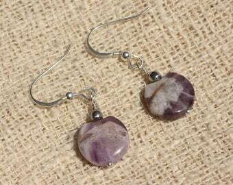 Earrings 925 Silver - Amethyst beads 12mm