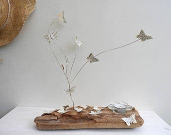 Candle holder on drift wood and paper butterflies
