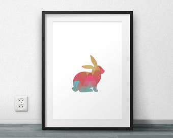 Rabbit Print, Triangle pattern, Modern Art, Scandinavian Style, Nordic Poster, Wall Art, Home Decor, Printables, Large size, Resizable