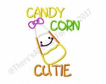 Halloween embroidery design, fall embroidery design, candy corn embroidery design, girl embroidery design