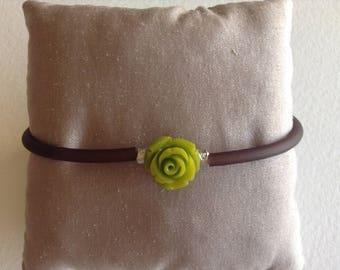 Color pink green brown cord bracelet