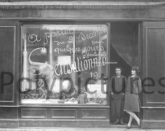 Old photo trade Toulouse merchant store shoes print repro year. 1920