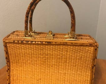 Vintage Wicker/Bamboo Structured purse