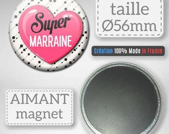 Magnet magnet Super godmother gift godmother baptism Communion Badge 56 mm