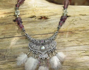 Ethnic necklace, Pearl silver, feathers and glass beads