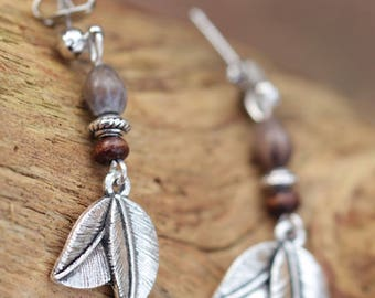 Earrings silver double leaf, wood, metal and seed beads