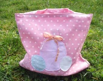 Easter bag pink cotton kids shoulder peas
