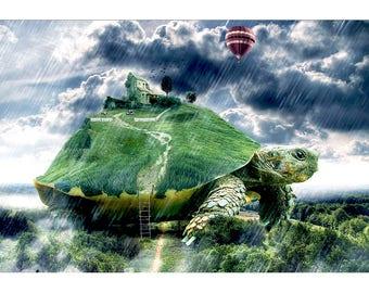 Reptilian Mobile Home - Fantasy Print - Fantasy Art - Fantasy Poster - Fantasy Artwork