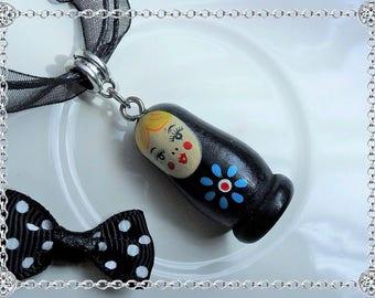 Necklace pendant - matryoshka Russian doll - Black - Silver bail