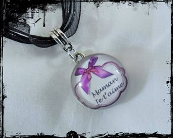 Glass Cabochon necklace Reversible 22mm - I love you MOM - metal - organza cord support