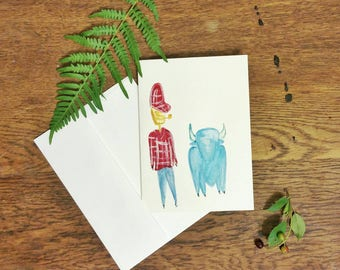 Paul Bunyan and Babe // Cob Pipe // Hand Painted // Watercolor Card