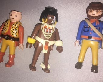 Playmobil 3 Figure lot accessories Geobra Free Shipping!!  African?  Explorers?