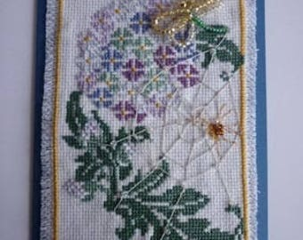 Embroidery on card: Dragonfly beaded on a thistle flower