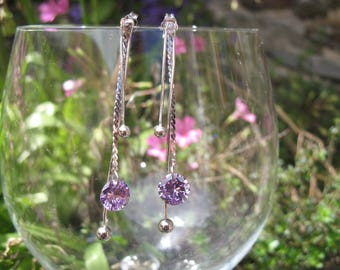 Earrings multi chains in silver and purple CZ