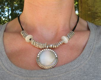Opal Necklace and silver beads