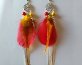 Natural goose and Rooster feather earrings