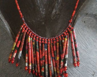 Red dominant necklace recycled paper