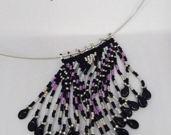 neck and beaded fringe Choker necklace