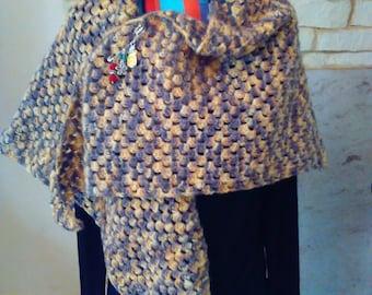 crocheted shawl by hand with acrylic yarn