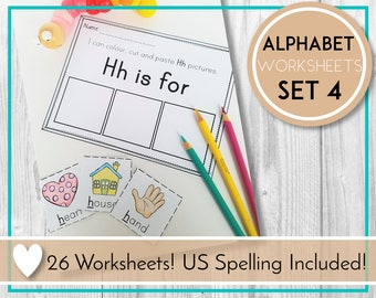 Alphabet Worksheets, Color, Cut and Paste, ABC Printables, Preschool & Kindergarten Learning, Teaching Education Resource, Kids Activities