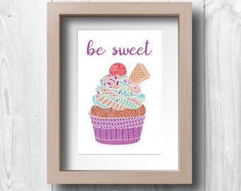 "Cupcake - ""Be Sweet"" - Printable Wall Art"