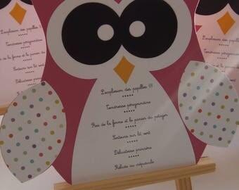 OWL theme for boy or girl christening menu