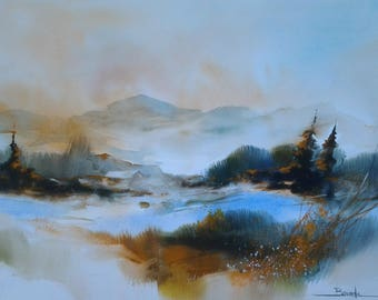 "Landscape watercolor painting ""morning on the snow-capped mist"""