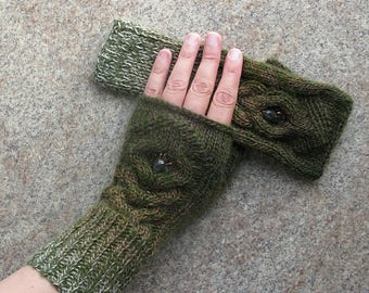 Fingerless Gloves Knit Mittens Gloves Khaki Women's Arm Warmers Woolen Hand Knitted Fingerless Gloves Wrist Warmers Knit Accessories Gift