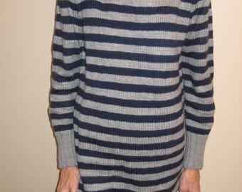 Wool Turtleneck striped grey/Navy dress