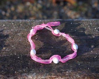 job tear, organza and seed bead Stretch Bracelet