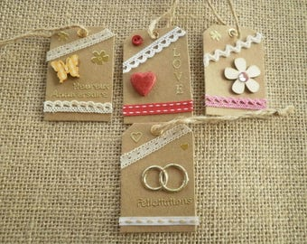 Set of four tags for gifts, handmade, different home decors