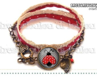 Bracelet-MISS Ladybug red black dot vintage glass cabochon